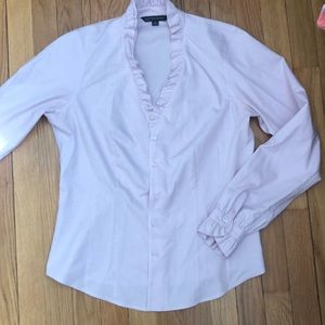 Brooks brothers pink ruffled blouse